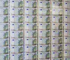 Euro Banknoten Bögen Banknoten Geldscheine Papiergeld Notgeld