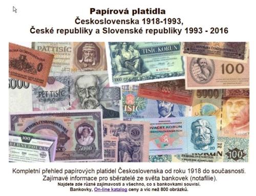 Linktipp: Papírová platidla – Info-Seite für Sammler tschechischer Banknoten