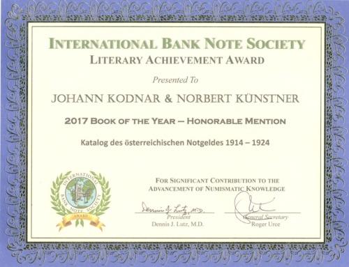 Honoration für Katalog des österreichischen Notgeldes