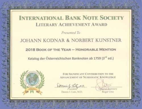 Katalog der österreichischen Banknoten mit IBNS Preis ausgezeichnet